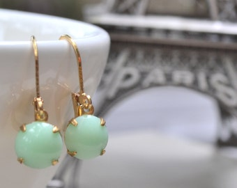 Mint Glass Earrings Estate Retro Jadeite Vintage Glass Cabochon Pastel Mint Glass Lever Back Brass Earrings Polka Dot Petite and Dainty