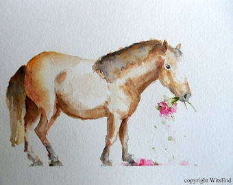 Pony watercolor painting Naughty Harriet in the Roses original equine equestrian Nursery baby horse art