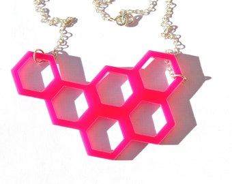 Pink Geometric Necklace Laser Cut Honeycomb Hexagon on Sterling Silver Chain