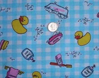New ducky bath time on cotton Lycra  interlock knit fabric 1 yard