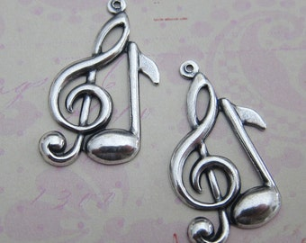 NEW 2 Silver Treble Clef and Note Charms 3415