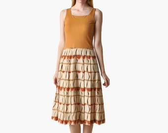 SALE - Vintage 70s Pleated Midi Dress