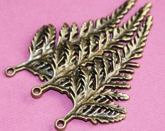 Antique Brass leaf pendant 62x28mm