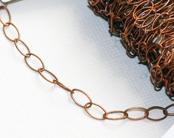 10ft of Antiqued Copper oval drawn cable chain 7x3.9mm - Soldered Links