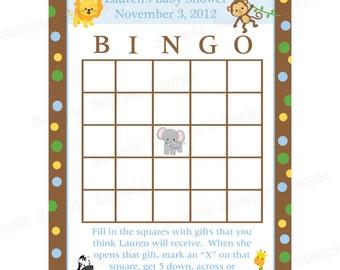 24 Personalized Baby Shower Bingo Cards  -  Zoo Animals