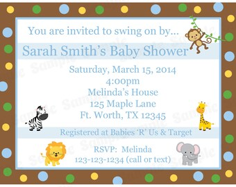 20 Personalized Baby Shower Invitations   - Zoo Animals