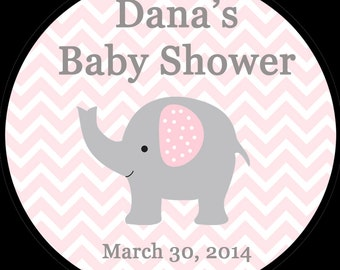 20 Round Personalized Baby Shower Stickers  2 Inch Size   ELEPHANT - PINK