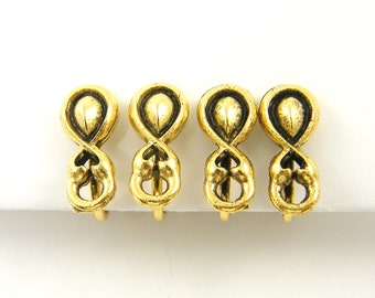 4 pcs Gold Clip on Earring Finding, Small Teardrop Twist Antique Gold Non Pierced Earring |Q1-3|4