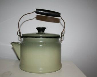 Vintage Green Enamel Teapot