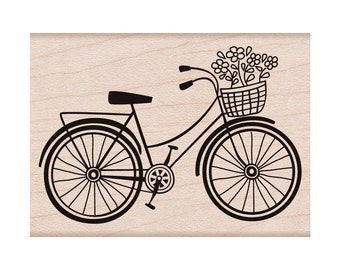 Bicycle Rubber Stamp • Woodblock Craft Stamp • Scrapbooking • Crafting • Card Making • DIYing • Stamping (F5293)