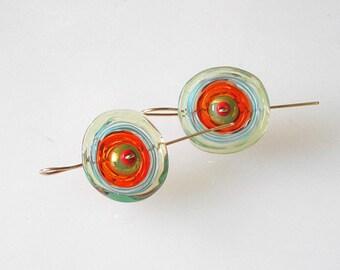 Lampwork floral earrings, Floral glass earrings, Floral earrings, Fisahook earrings, Handmade glass jewelry