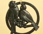 Vintage Black Lucite Bird Necklace set on Gold Fill