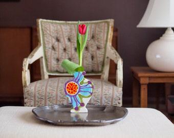 Spring Floral Vase - Jubilation Flat Urn Vase - Bright Colorful Pottery Spring Happy Home Decoration Best Friend Birthday Gift