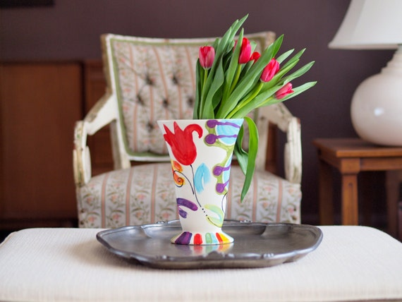 Tulip Vase Ceramic Vase Tall Vase Spring Vase Jubilation Retro Vase Colorful Pottery Happy Home Easter Decor Birthday Gift Romy & Clare J