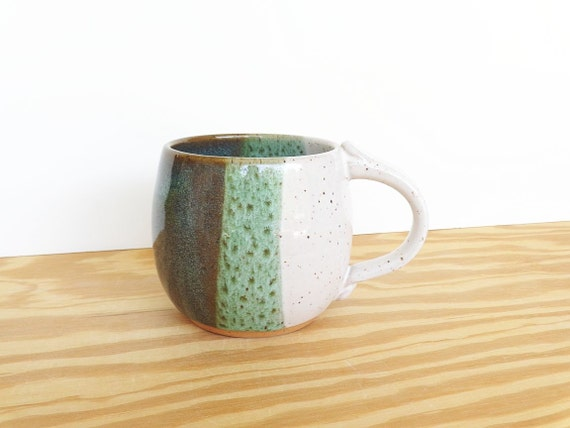 Stoneware Ceramic Coffee Cup in Sea Mist and White Glazes