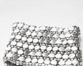Silver Cuff Bracelet - wide silver metal cuff bracelet on elastic (B30)