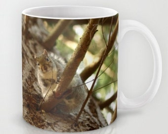 Squirrel In The Forest  Cup Tea/Coffee Mug Affordable Home Photography Prints Nature Photography Decor Nature Lover Woodland Scene