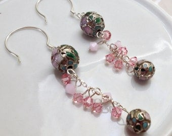 Silver and Pink Crystal Dangle Earrings with Round Flower Beads