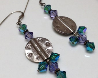 Aqua and Purple Swarovski Crystal Beaded Earrings with Silver Medalion