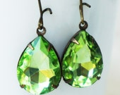 SUMMER SALE!!! Peridot Glass Jewel Dangle Earrings, green crystal