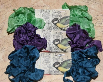 Crinkled Seam Binding  Ribbon 15 Yards - Teal, Spring Green and Purple