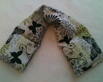 Heat Pack or Cold Therapy Wrap/ Neck Shoulder  Unscented Black Butterfly
