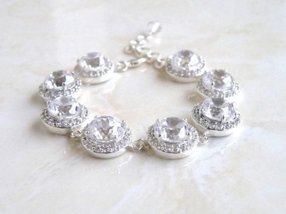Bridal Bracelet Cubic Zirconia Silver CNB4