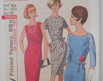 1960S Fitted sheath dress Size 18.5 Bust 39 1960s Simplicity 5939 Vintage   sewing pattern