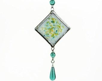 Aqua Fused Glass Suncatcher Light Catcher Small Teal Spring