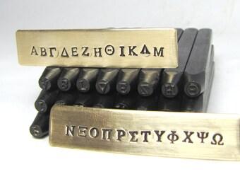 GREEK alphabet, 3/32 inch, steel stamps, 2.5mm, collage Greek, WOOD BOX, Greek letter set, sorority stamping,