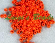 6/0 Round TOHO Japanese Glass Seed Beads #50-Opaque Sunset Orange 20 grams