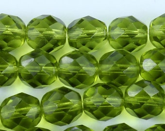 25 Olivine Czech Firepolish Faceted Round Glass Beads 8mm