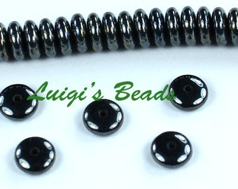 50 Hematite Czech Glass Rondelle Spacer Beads 6mm
