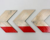 Red and Gray Color Dipped Wood Chevron Arrow Wall Art Hanging Home Decor