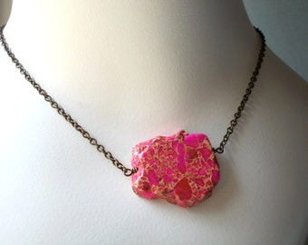 Pink Sea Sediment Jasper Necklace - stone necklace - choker necklace - handmade brass bronze large stone bead slab pink gemstone pendant