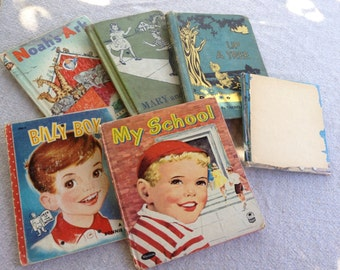 Lot of 6 Vintage Children's Books with Great Illustrations for Repurposing/Altered Art