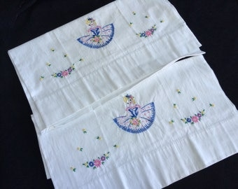 Pair of Vintage White Cotton Pillowcases with Hand Embroidery Ballerina and Flowers
