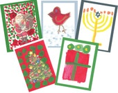 Set of 5 Christmas and Holiday Cards by Scott