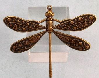 Dragonfly Pendant, Brass Ox, Trinity Brass AB86