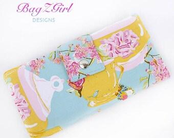Handmade Long Wallet BiFold Clutch-Teacup- Teapots-Birds-Bari J.-Blue-Gold