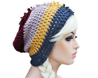 Mohawk Slouch Beanie Striped Mens or Womens Maroon Lavender mustard yellow blue