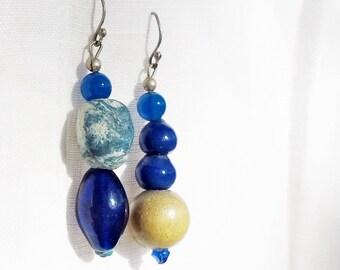 Asymmetrical Blue Potpourri Earrings