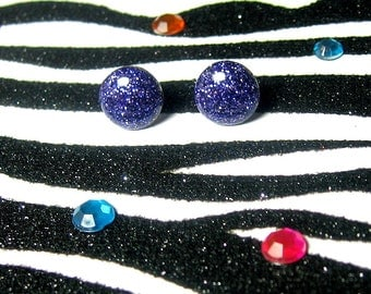Purple Glitter Earrings, Deep Violet Studs, Resin Posts