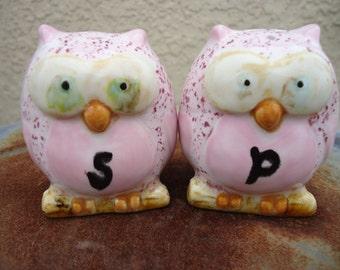 Pink Polka Dot Owl  Glazed Salt and Pepper Shakers