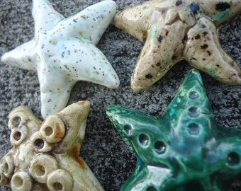 Four Crystal Glazed Starfish Stoneware Pendants
