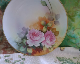 Antique Signed Nippon Hand Painted Roses Porcelain Plate