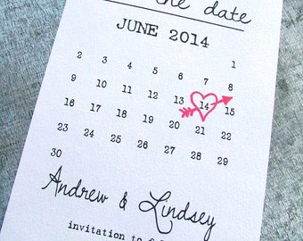As seen on Pinterest Calendar Save the date cards, heart date save the date cards
