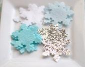 Frozen Winter Wool Felt Snowflake Silver Glitter Aqua Felt Blue Snow Felt White Felt
