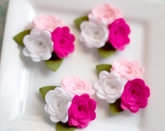 Wool Felt Rose Trio with leaves Fuchsia, Pink and White