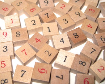 Miniature Wooden Sudoku Tiles or Game Pieces with Black and Red Numbers Set of 81